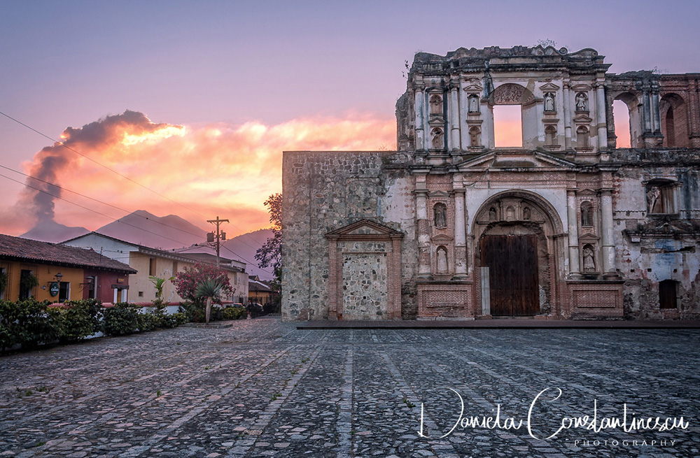 El Fuego Sunset and a beautiful Ruin in Antigua