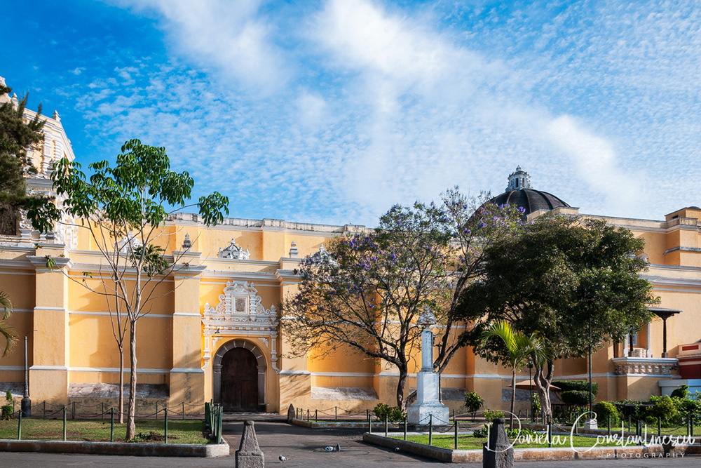 Fair weather in Antigua highlighting the beauty of La Merced Church