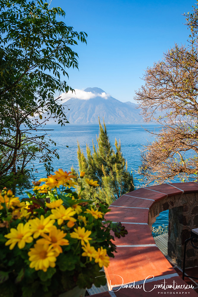 San Pedro Volcano view from a charming terrace on the shore of Lake Atitlan