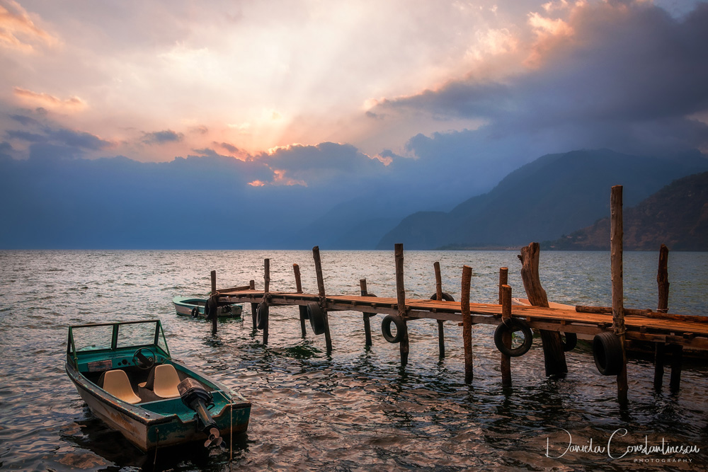 Sunbeams at Sunset on Lake Atitlan