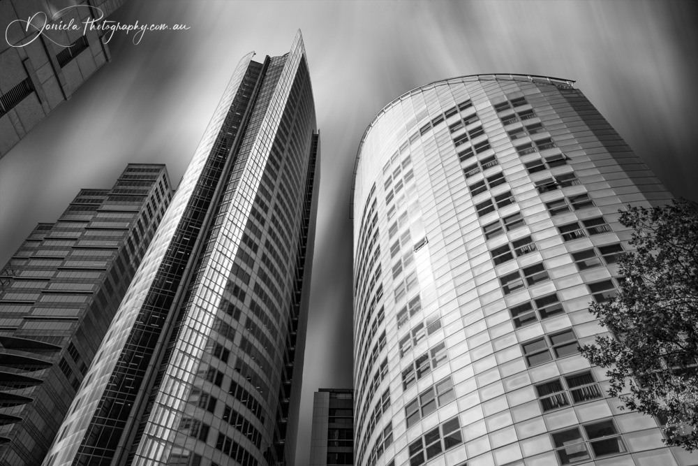 Australia -Curved Towering Skyscrapers at Aurora Place Sydney