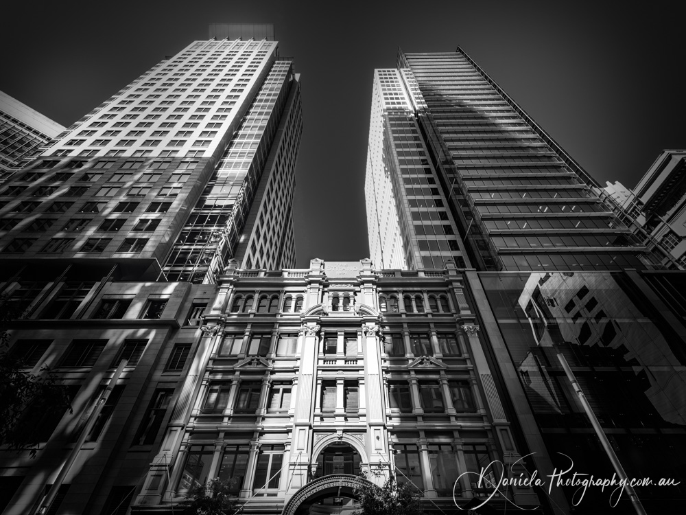 Australia -Modern and Traditional Architecture in Sydney CBD in BW