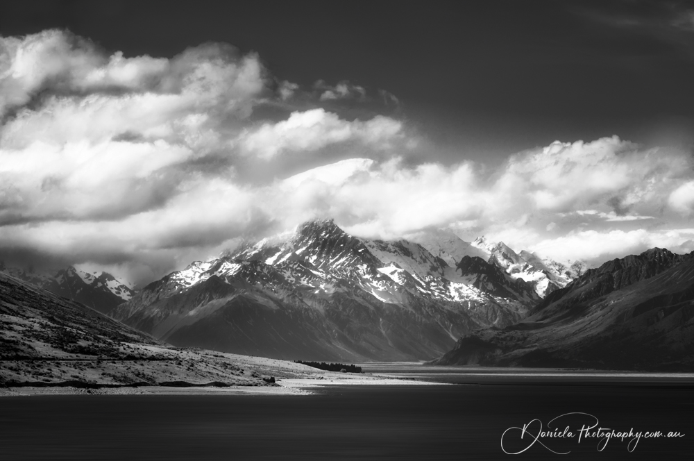 New Zealand  Mount Cook View in black and white