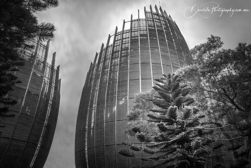 Tjibaou Cultural Centre -Iconic shell structures in black and white