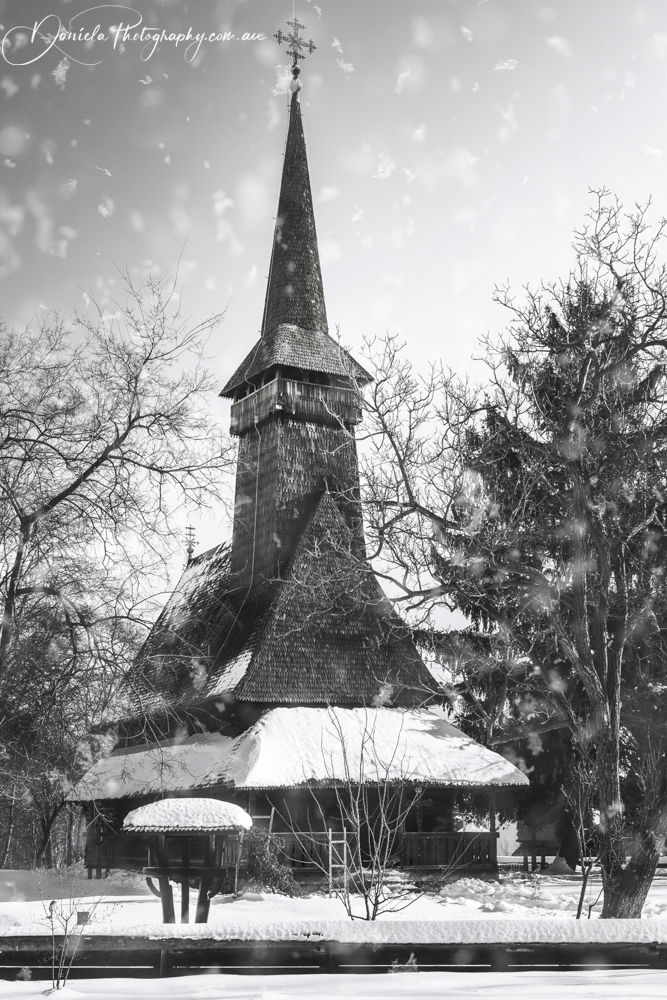 Traditional Romanian Wooden Church in BW